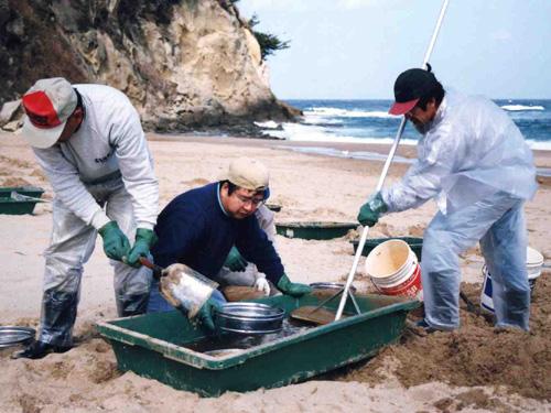 ふるいの砂を水で洗うと効率的